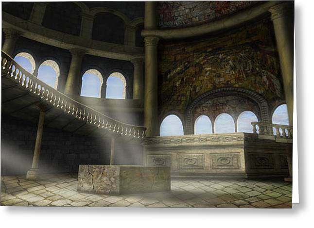 Medieval Temple Greeting Cards - Sacrifices temple Greeting Card by Virginia Palomeque
