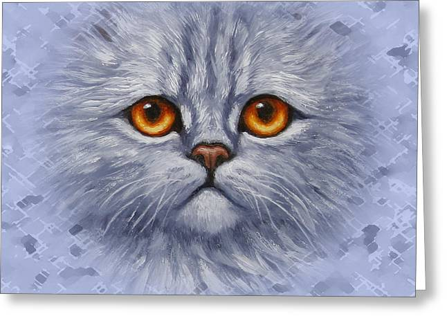 Orange Tabby Paintings Greeting Cards - Sad Blue Kitty Pillow Greeting Card by Crista Forest