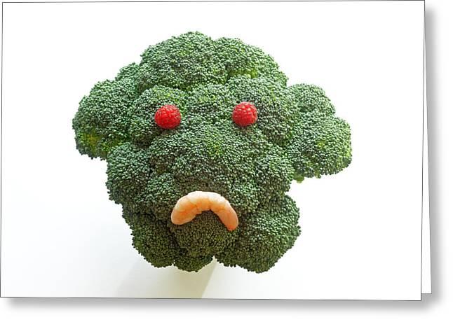 Broccoli Greeting Cards - Sad broccoli face Greeting Card by Rosemary Calvert