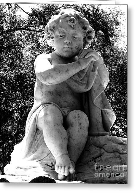 Botanical Sculptures Greeting Cards - Sad Child Black and White Greeting Card by Nathan Little