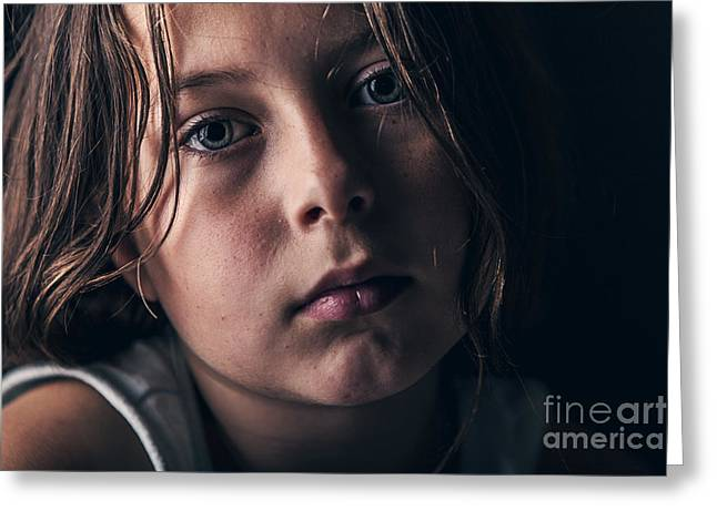 Bully Greeting Cards - Sad Child Greeting Card by Justin Paget