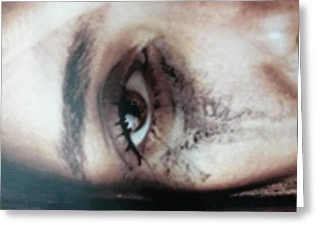 Eyebrow Greeting Cards - Sad eye Greeting Card by Israel Silva