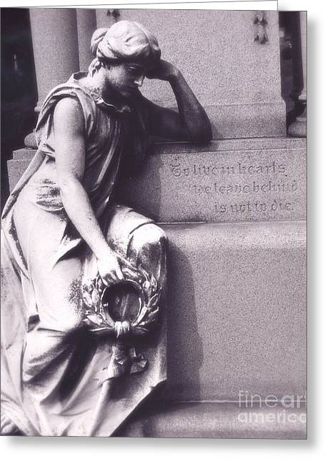 Gothic Surreal Greeting Cards - Sad Female Figure At Grave - Haunting Cemetery Female Mourner On Grave Greeting Card by Kathy Fornal