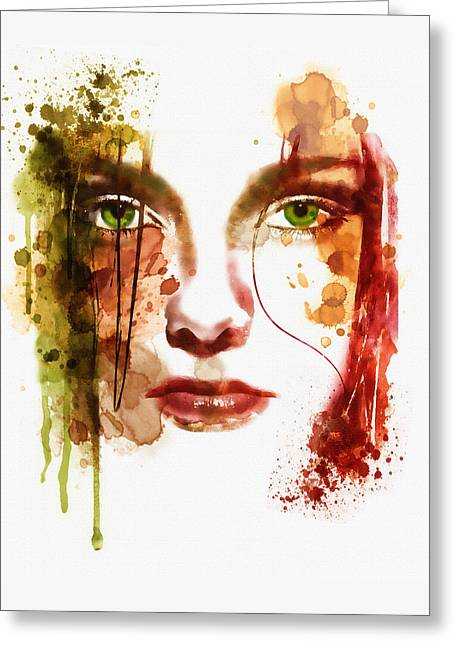 Feeling Young Greeting Cards - Sad Girl watercolor Greeting Card by Marian Voicu
