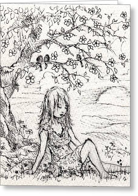 Depression Drawings Greeting Cards - Sad Little Girl Greeting Card by Rachel Christine Nowicki