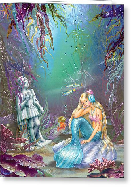 Sad Little Mermaid Greeting Card by Zorina Baldescu