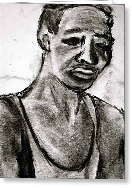 African-american Drawings Greeting Cards - Sad Man Greeting Card by Kamme Irvine