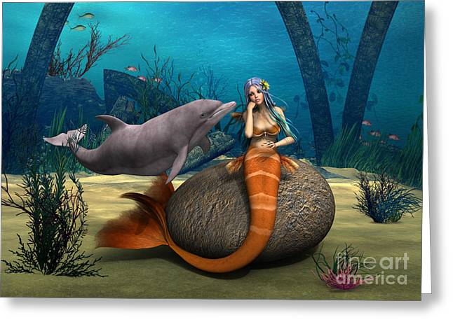 Floating Girl Greeting Cards - Sad Mermaid Greeting Card by Design Windmill