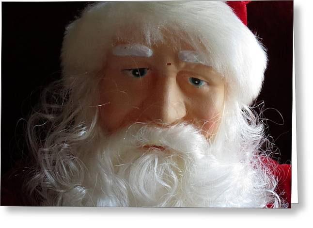 Photographs With Red. Greeting Cards - Sad Overworked Santa Greeting Card by Kay Novy