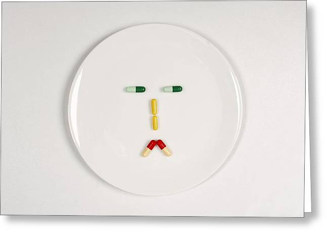 Abstract Expression Greeting Cards - Sad pill face Greeting Card by Science Photo Library