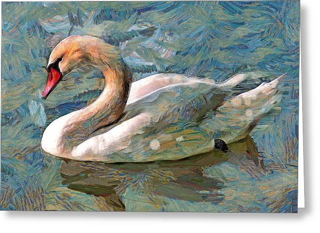 Swan Fantasy Art Greeting Cards - Sad swan Greeting Card by Yury Malkov