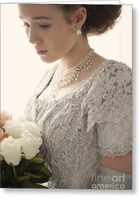 Glittery Jewelry Greeting Cards - Sad Victorian Woman With Bouquet Of Roses Greeting Card by Lee Avison