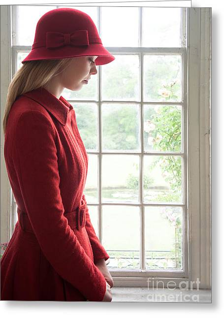 Cloche Hat Greeting Cards - Sad Woman In A Red Hat And Coat Greeting Card by Lee Avison
