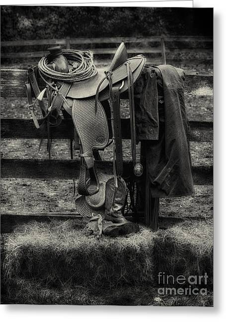 Riding Boots Digital Art Greeting Cards - Saddle and Gear Black and White Greeting Card by Jerry Fornarotto