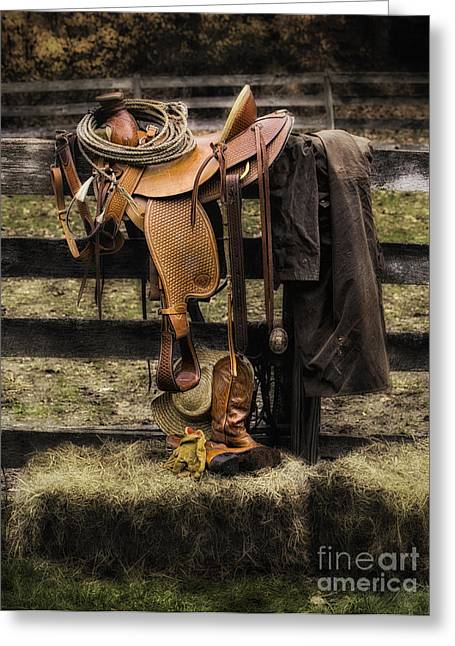 Riding Boots Digital Art Greeting Cards - Saddle and Gear Greeting Card by Jerry Fornarotto