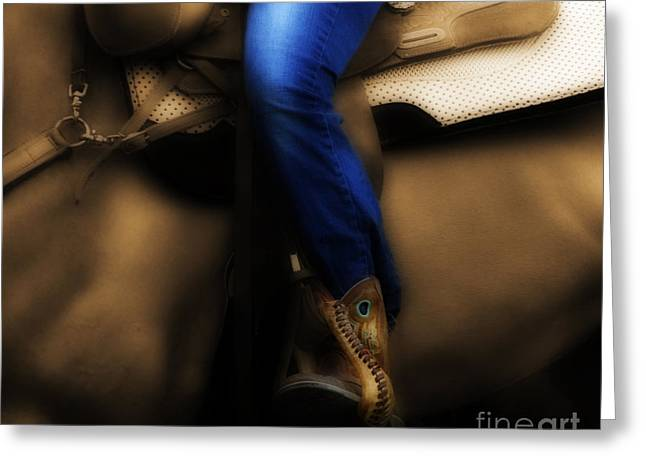 Horseback Riding Digital Art Greeting Cards - Saddle Blues Greeting Card by Steven  Digman
