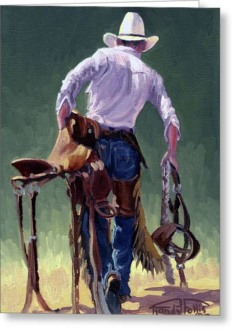 Bucking Horses Greeting Cards - Saddle Bronc Rider Greeting Card by Randy Follis
