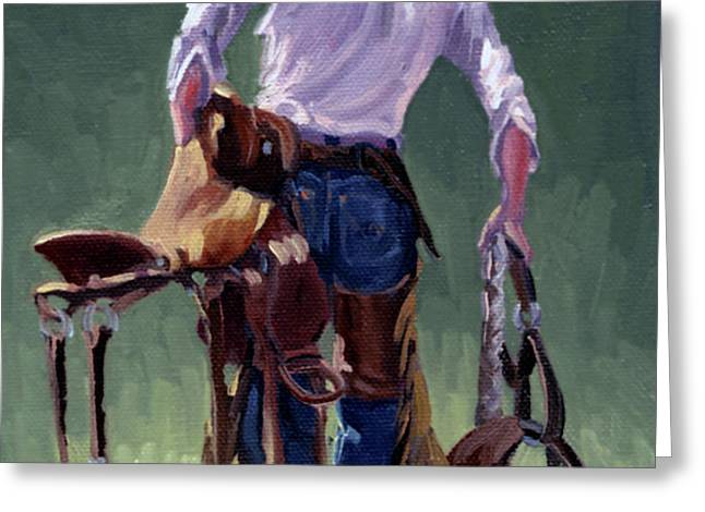 Saddle Bronc Rider Greeting Card by Randy Follis