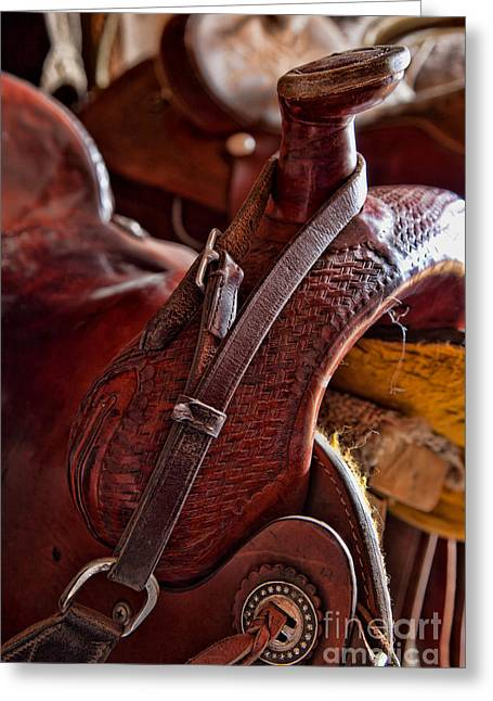 Straps Greeting Cards - Saddle in tack room Greeting Card by Inge Johnsson