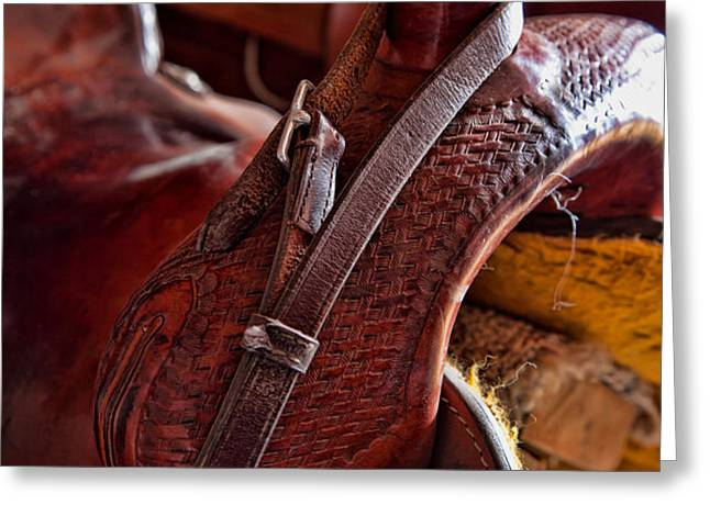 Saddle in tack room Greeting Card by Inge Johnsson