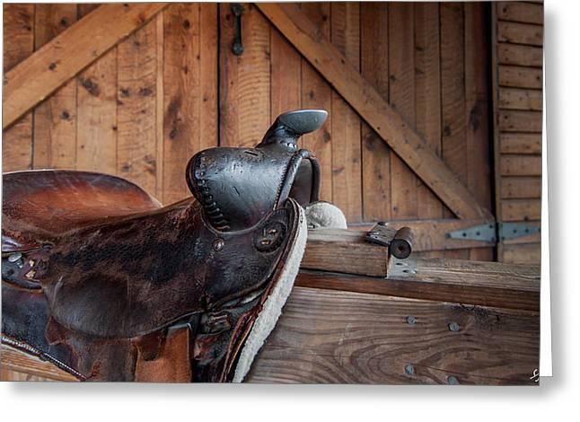 Cowboy Art Collector Greeting Cards - Saddle Rest Greeting Card by Steven Milner