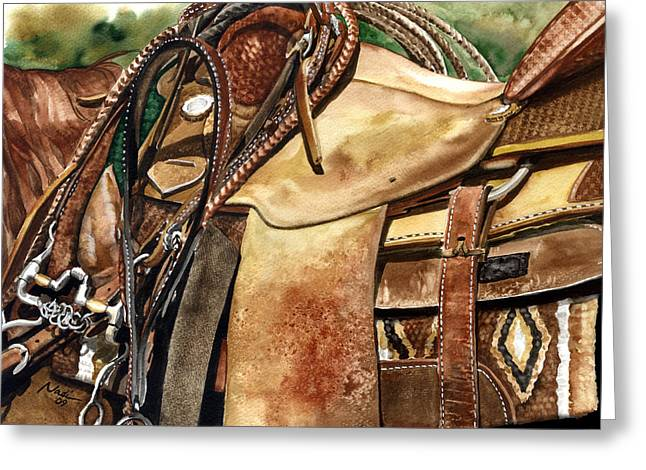 Nadi Spencer Paintings Greeting Cards - Saddle Texture Greeting Card by Nadi Spencer