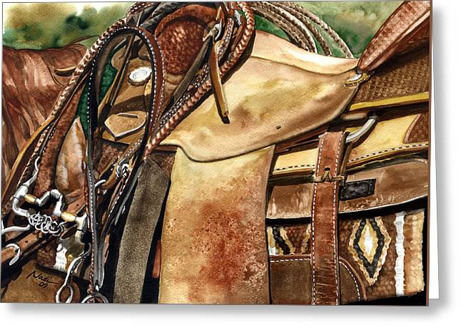 Saddle Texture Greeting Card by Nadi Spencer