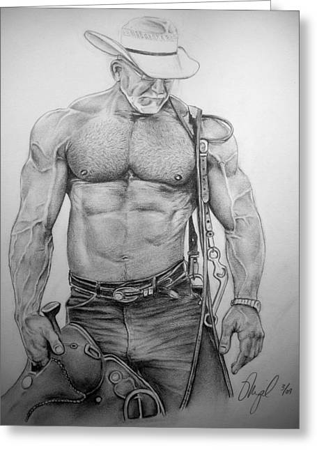 Physique Drawings Greeting Cards - Saddle Up Horseman Greeting Card by Mike Gonzalez