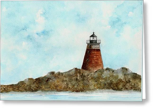 Maine Lighthouses Paintings Greeting Cards - Saddleback Ledge Lighthouse Greeting Card by Michael Vigliotti