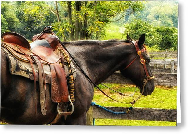 Western Tie Greeting Cards - Saddled Up Western Style Greeting Card by Mountain Dreams