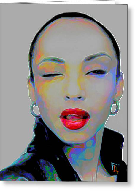 Woman Head Prints Greeting Cards - Sade 3 Greeting Card by  Fli Art