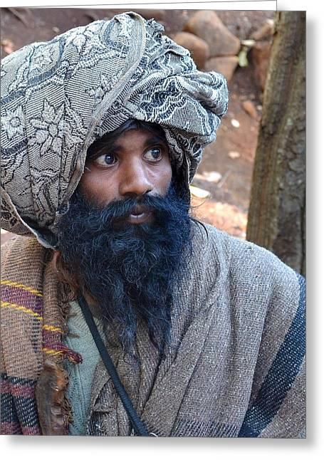 Scenery Greeting Cards - Sadhu At Amarkantak India Greeting Card by Kim Bemis