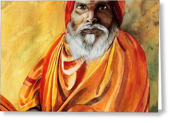 Sadhu Greeting Card by Janet Pancho Gupta