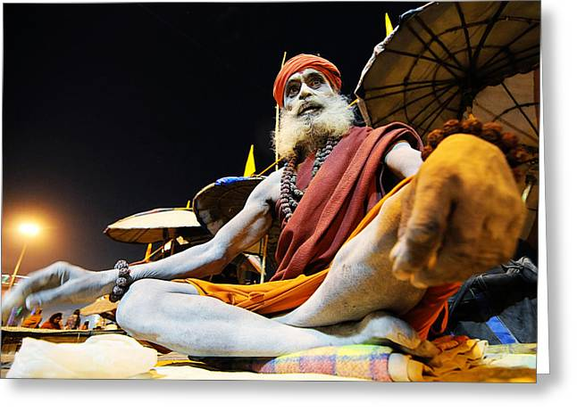 Money Sharma Greeting Cards - Sadhu Greeting Card by Money Sharma