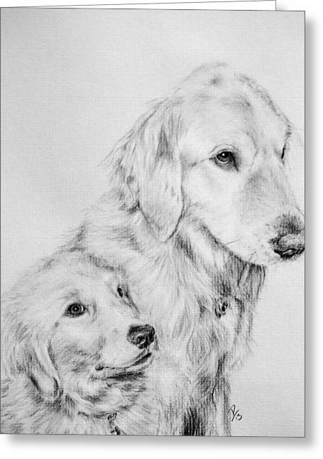 Puppies Drawings Greeting Cards - Sadie and Maggie Greeting Card by Patrick Entenmann