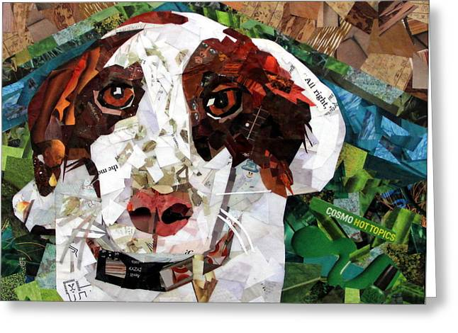 Puppies Mixed Media Greeting Cards - Sadie Belle Greeting Card by Paula Dickerhoff