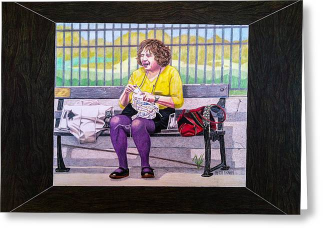 Park Scene Mixed Media Greeting Cards - Sadie Sadie Knitting Lady Greeting Card by Betsy Frahm