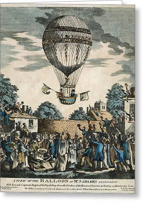 1811 Greeting Cards - Sadlers royal balloon flight, 1811 Greeting Card by Science Photo Library