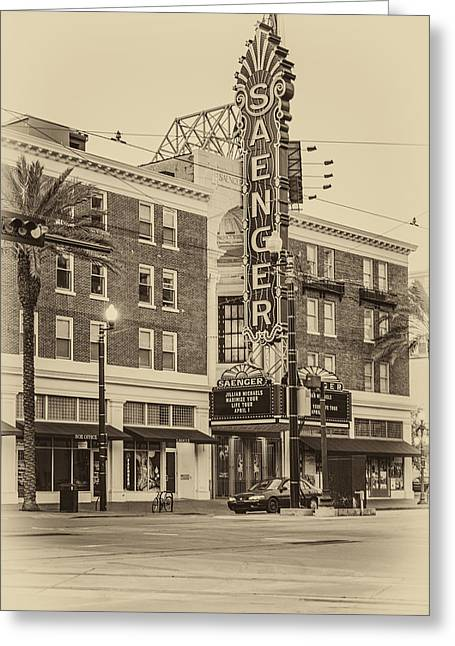 Saenger Theatre New Orleans Sepia Greeting Card by Steve Harrington