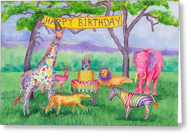 Greenville Zoo Greeting Cards - Safari Party Greeting Card by Rhonda Leonard