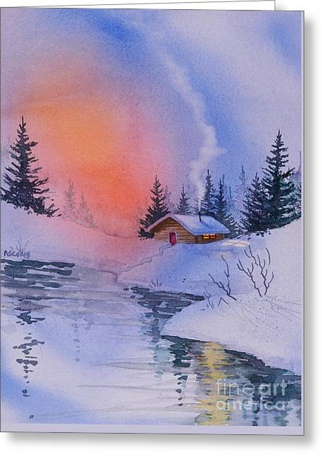 Snow-covered Landscape Greeting Cards - Safe and Warm Greeting Card by Teresa Ascone