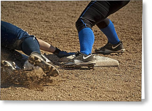 Girls Softball Greeting Cards - Safe at 3rd Greeting Card by Dale Stillman