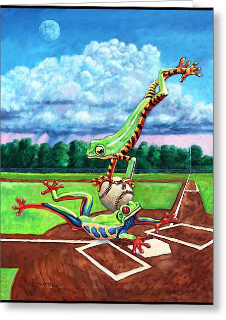 Baseball Field Paintings Greeting Cards - Safe At Home Plate? Greeting Card by John Lautermilch