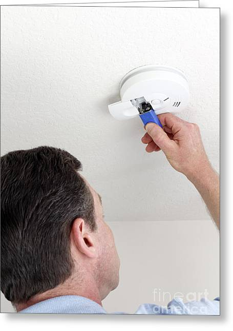 Smoke Detector Greeting Cards - Safe from Fire Greeting Card by Lee Serenethos