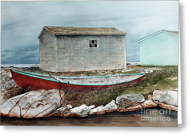 Pull Paintings Greeting Cards - Safe From The Storm Greeting Card by Monte Toon