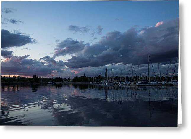 Turbulent Skies Greeting Cards - Safe Harbor After the Storm Greeting Card by Georgia Mizuleva