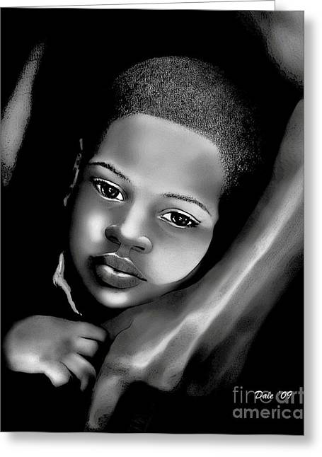 Portrait Of A Young Boy Greeting Cards - Safe Harbor Greeting Card by Dale   Ford