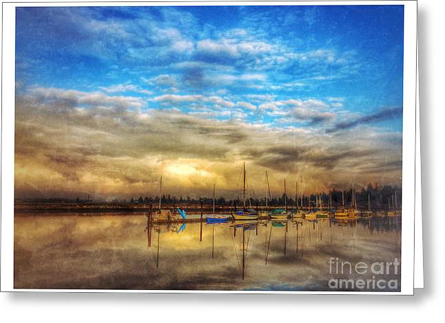 Sailboats In Water Greeting Cards - Safe Harbour 3 Greeting Card by Venetta Archer