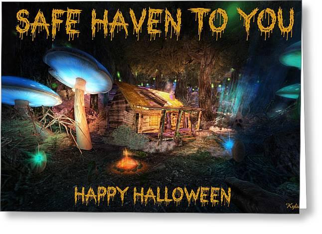 Haunted House Greeting Card Greeting Cards - Safe Haven - Halloween Greeting Card Greeting Card by Kylie Sabra