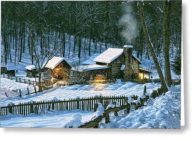 Log Cabin Digital Greeting Cards - Safe Haven Greeting Card by Mary Almond